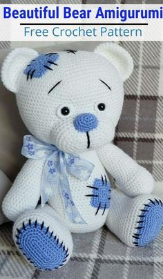 Mini Amigurumi, Amigurumi Animals, Amigurumi Free, Crochet Patterns Amigurumi, Amigurumi Doll, Crochet Bear Patterns, Crochet Motifs, Free Crochet, Teddy Bear Clothes