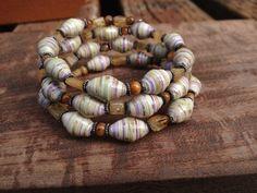 Citrine & amber shell Paper bead wrap around bracelet by stillrain