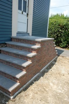 Stair, : Mesmerizing Home Exterior Design Ideas Using Brick Front Porch  Precast Staircase Along With