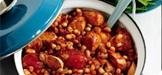 Spicy bean and #sausage casserole - easy and filling for a #familydinner