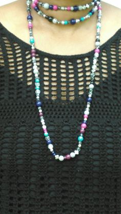 Long glass multicolored bead necklace with a free by TyeriDesigns