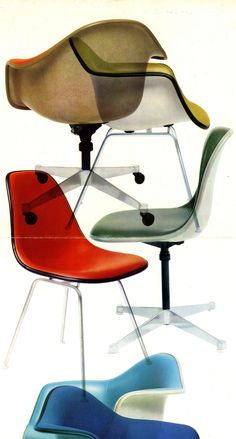 Different shapes and colors of vintage, upholstered #Eames shell chairs Be sure to check out our partners @hermanmiller @vitra