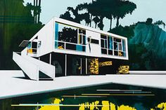 We have always been fascinated by architectural fine art, whether it be Evan Hecox' city paintings or even the way that Ian Francis has incorporated buildings into his dreamy paintings. Today, we were struck by the work of Australian artist Paul Davies, whose work is primarily concerned with modern architecture, and has been influenced by the likes of Jeffrey Smart and Frank Lloyd Wright.