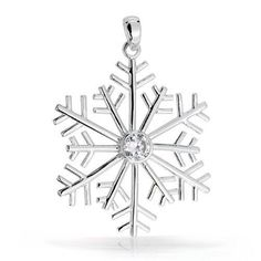 Bling Jewelry Round CZ Solitaire Sterling Silver Snowflake Pendant