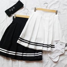 "White/black students pleated skirt SE10261 Coupon code ""cutekawaii"" for 10% off"