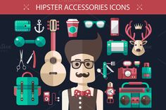 Hipster Accessories Icons by Decorwith.me Shop on Creative Market