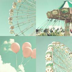 Autumn Photography, Ferris Wheel, carousel, mint, nursery art, nursery nautical, sky, blue green, chain swing, Fine Art, Set,  four 5 x 5. $20.00, via Etsy.