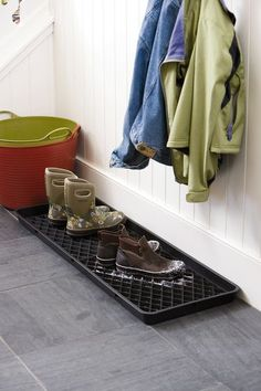 Large Boot Tray Set, I so wish I had a mudroom! Boot Storage, Closet Storage, Shoe Tray, Hall Flooring, Small Entryways, Large Tray, Plastic Trays, Winter Gear, Winter Boots