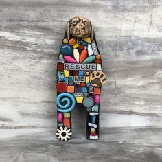 'RESCUE ME'  handmade mixed media mosaic art dog art doll mosaic wall hanging modern art contemporary doll handmade