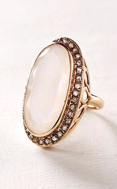 Moonstone and Labradorite Scepter Ring in 14k Rose Gold #anthrofave