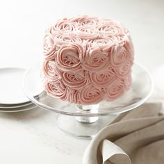 Pink Rose Chocolate Layer Cake #williamssonoma   WE CAN DO THESE FLOWERS OURSELVES PEOPLE...SO EASY
