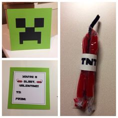 You're a blast, valentine! - Minecraft valentines - Creeper - Valentines for boys - TNT twizzlers & pipe cleaner party favor