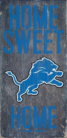 Detroit Lions Wood Sign Home Sweet