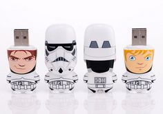 """""""Aren't you a little short for a stormtrooper?"""" Well, maybe, maybe not - you'll just have to unmask these white-armored soldiers to see for yourself! Concealed beneath their helmets is either Jedi-to-be Luke Skywalker, or Han Solo, smuggler of exotic spices and princesses' hearts. Stormtrooper Unmasked MIMOBOT is presented as a blind assortment character with a 50/50 chance of receiving either Luke or Han. Many other stylized flash drives available."""