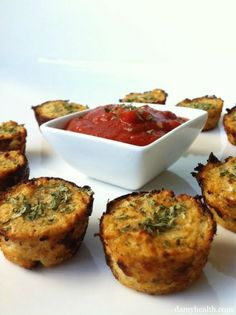 Guilt-Free Pizza Bites (Cauliflower Pizza Bites) from Health Damy - omit a couple things and make it #paleo