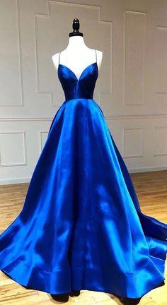 Backless prom dresses - Blue v neck satin long prom dress, blue evening dress – Backless prom dresses Prom Dress Black, Pretty Prom Dresses, Simple Prom Dress, Blue Evening Dresses, Backless Prom Dresses, Prom Dresses Blue, Prom Party Dresses, Ball Dresses, Beautiful Dresses