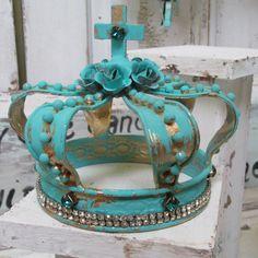 Ornate metal statue crown aqua blue gold French Santos inspired roses, rhinestones home decor anita spero