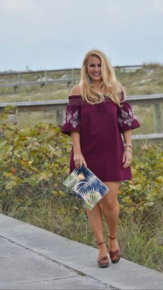 Street2BeachStyle – Off the Shoulder Dress with Sole Society Palm Print Clutch in Saint Petersburg Florida. Off The Shoulder Dress | Palm Print | Boho Outfits | Spring Style | Summer Style | Distressed Jeans | Off the Shoulder Outfit | Boho Chic Outfits | Bohemian Girl | Stylish Outfits | Wedges #street2beachstyle #liketoknowit #springstyle #summerstyle #offtheshoulder #bohochic #boho #bohostyle #palmprint #clutch #tasselearrings #wedges Instagram: Jenn Truman @jtstjtst11