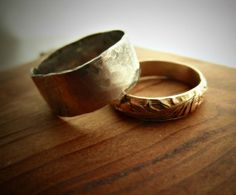 very middle earth...i likey! His and Hers  14K Gold Filled & Wide Silver Band Set by palefishny, $92.00