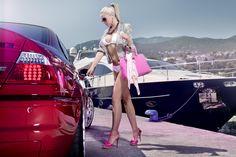 Mandy Lange (Miss Tuning 2011) with red BMW M3 #bikini #pink