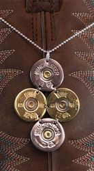 "Shotgun Shell Necklace - 12 GA Winchester Gold/Silver Tori on 16"" Sterling Silver Chain by Spent Rounds Designs; Shotgun Shell Jewelry 