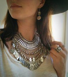 Big Boho necklace silver Gypsy Collar  Turkish Coin by Meebird