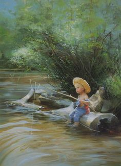 """The Little Fisherman"", by American artist - Donald Zolan (1937-2009)"