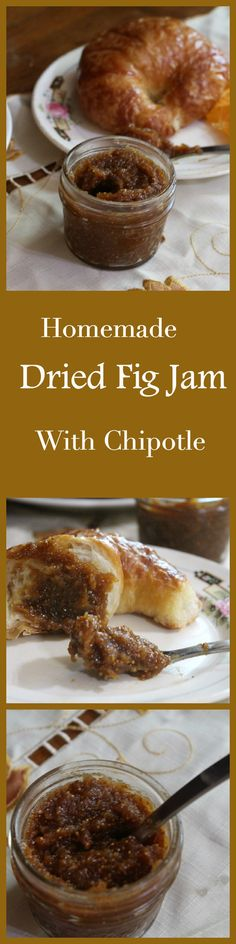Homemade dried fig jam is deliciously different with a sweet, smoky, spicy flavor that is hard to resist. The secret is in the chipotle! Quick and easy! Fig Recipes, Potluck Recipes, Canning Recipes, Breakfast Recipes, Dishes Recipes, Homemade Chipotle, Sandwiches, Fig Jam, Dried Figs