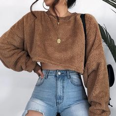 Brown Crew Neck Long Sleeve Women Crop Sweatshirt - Ropa Tutorial and Ideas Mode Outfits, Trendy Outfits, Fall Outfits, Fashion Outfits, Womens Fashion, Fashion Trends, Hipster Outfits, Fashion 2016, Classy Outfits