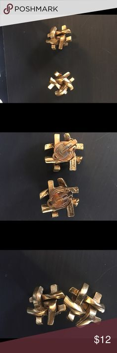 Vintage earrings Vintage tic tac toe style earring gold made in Paris clip on. Jewelry Earrings