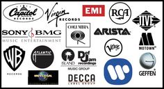 A graphic containing the logos of a bunch of major record labels. Readers will probably recognize at least (JRN) Record Label Logo, Doors Music, Bmg Music, Underground Music, Singing Lessons, Atlantic Records, Rca Records, Music Labels, Motown