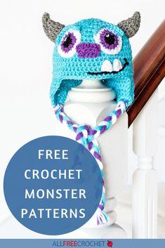 34+ Free Crochet Monster Patterns Crochet Monster Hat, Crochet Monsters, Crochet Crafts, Yarn Crafts, Crochet Ideas, Crochet Costumes, Monster Costumes, Halloween Crochet Patterns, All Free Crochet