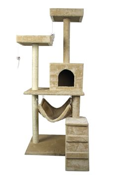 59' HIDING CAT TREE Tower Condo Furniture Scratch Post Kitty Pet House Play Furniture Sisal Pole Stairs and Hammock (Beige) by HIDING > Details can be found  : Cat condo