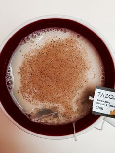 Home made Chai Tea latte.   3/4 cup Almond Milk 1/4 cup Water Pinch of Cinnamon 1 tea bag of Tazo Organic Chai   #Starbucks #fall #chaitea #Tazo