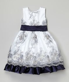 Look what I found on #zulily! White & Navy Floral Dress - Infant, Toddler & Girls by Kid Fashion #zulilyfinds
