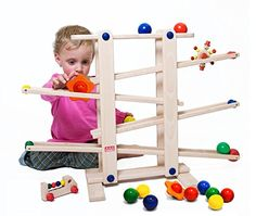 Trihorse wooden marble run for children from 1 year old, very stable with 6 riding toys, made in EU Building Blocks Toys, Building For Kids, Toddler Toys, Kids Toys, Toddler Activities, Baby Toys, Wooden Marble Run, Lego Halloween, Pista