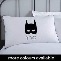 Batman Pillowcase Kids Pillows Monochrome Bedding by KokoBlossom (Coussin Pour Enfant) Batman Pillow, Monochrome, Batman Bedroom, Batman Mask, Batman Batman, Toddler Boy Gifts, Toddler Boys, Superhero Room, Personalized Pillow Cases