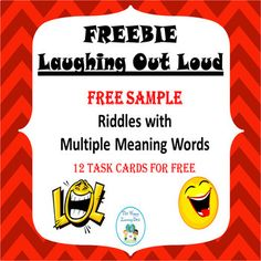 This is a free sample of the Multiple Meaning Task Cards resource.Multiple Meaning Task Cards  is a set of task cards covering 3rd, 4th, and 5th grade level material and includes 32 cards. This product contains the first 8 task cards, teacher answer key, and a student response page.
