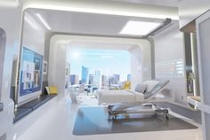 Thanks to non-profit design firm NXT Health, we have these cool ideas of what a hospital may soon look like based on their project Patient Room Healthcare Architecture, Interior Architecture, Interior And Exterior, Interior Design, University Architecture, Futuristic Interior, Futuristic Design, Futuristic Lighting, Medical Design