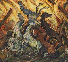 Scheuende Pferde vor Flammenmeer, 1920 by Harold Bengen (German 1879 - 1962)
