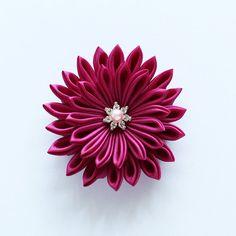 Fabric Flower Hair Clip - Brooch - Tsumami Kanzashi Dark Violet Red