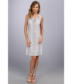 Calvin Klein Calvin Klein  Print Cowl Dress w Buttons Grey Combo Womens Dress for 24.17 at Im in!