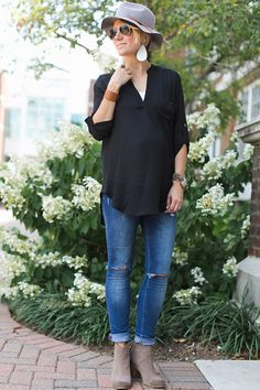 Felt Fedora, Leather Earrings, Leather Cuff, and Black Tunic Maternity Style