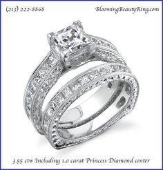 Princess Cut Diamonds Engagement Ring Set Hand-Made by http://www.BloomingBeautyRing.com  #PrincessDiamond #EngagementRing #HandMade