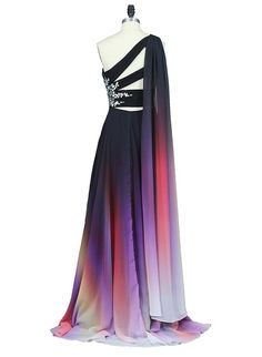 One Shoulder Gradient Color Prom Dress with Sexy Side Slit Custom Made Chiffon Evening Party Dress Fashion Long Beadings School Dance Dress Pageant Dress for Girls School Dance Dresses, Girls Pageant Dresses, Prom Dresses, Formal Dresses, Long Party Gowns, African Inspired Fashion, Custom Dresses, Evening Dresses, Party Dress
