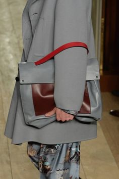 Valentino 2014/15, gray and brown leather bag with red strap, pop of red outfit, gray oversized clutch bag