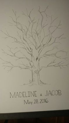 Fingerprint tree drawing for wedding