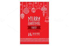 Vector christmas party invitation. Vintage Design. $5.00