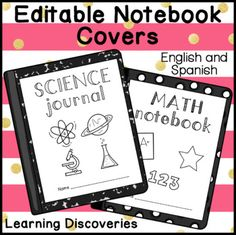 Editable Notebook Covers English and Spanish Fun Fonts, Cool Fonts, School Book Covers, Notebook Covers, Classroom Inspiration, Upper Elementary, Notebooks, Homeschool, Doodles