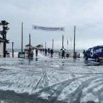 Hail On The Ground Looks Like Snow in Huntington beach
